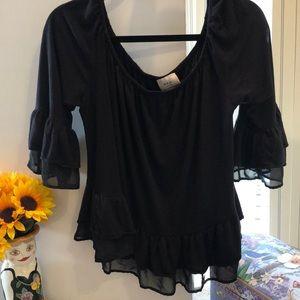 ECI blouse ruffled shear sleeves ruffled  peplum
